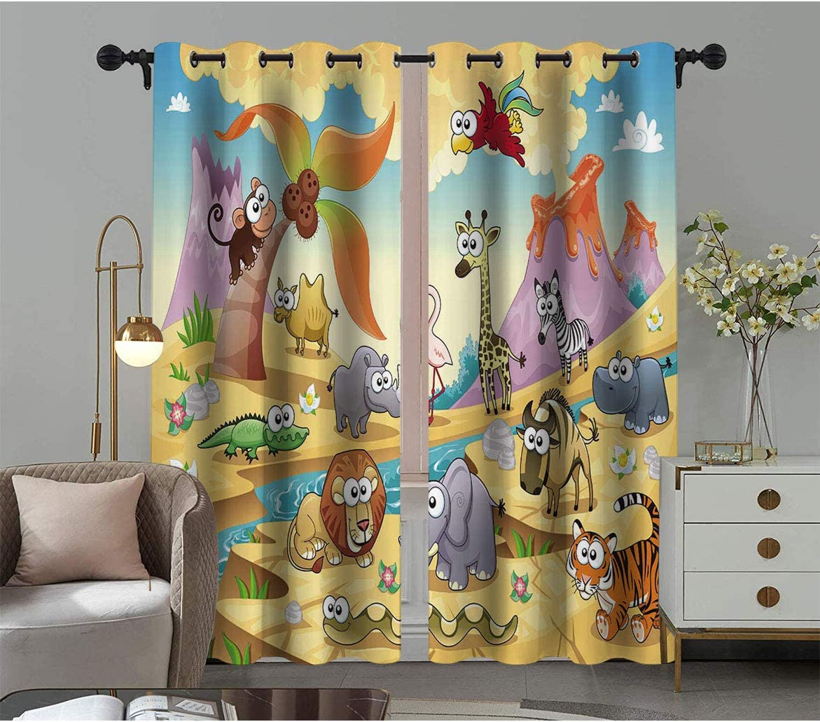 Kids Energy Smart Curtains Funny Cartoon Family Max 57% OFF with Max 43% OFF Mou Animal