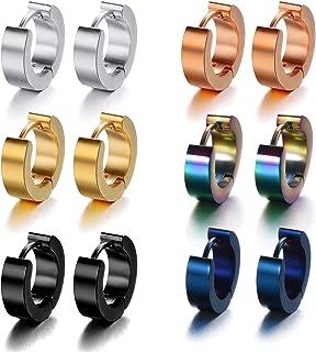 Stainless Steel Small Hoop Earrings Set Clip On Earrings Set for Men Women Huggie Earrings Non-Piercing 6 Pairs