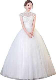 Clover Bridal 2018 Vintage High Collar Appliqued Lace Beading Ball Gown Wedding  Dress Ivory Red 118b8b4a0