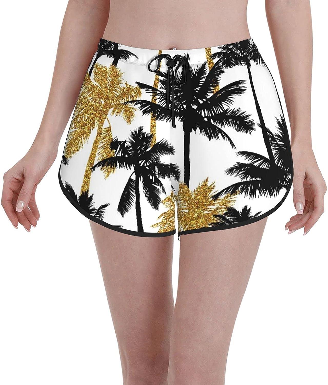 New item Women's Girl's Swim Trunks Gold Palm Tree Glitter and Black Discount mail order
