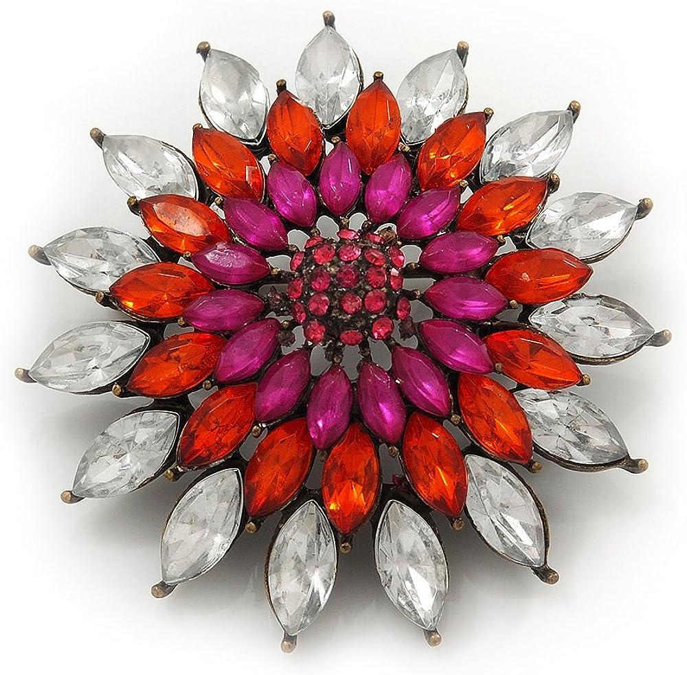 Avalaya Clear/Orange/Magenta Diamante Corsage Vintage Brooch in Bronze Metal - 4.5cm Diameter