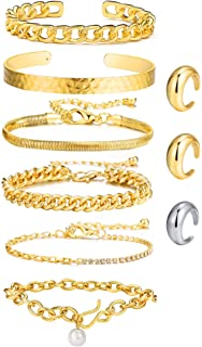 مجموعة أساور ذهبية من سلسلة كوبية وخواتم مقببة مفتوحة 14 قيراط مطلية بالذهب أساور أسورة للنساء الفتيات (9 قطع)