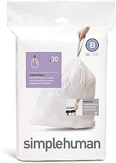 simplehuman Code B Custom Fit Drawstring Trash Bags, 6 Liters / 1.6 Gallon (30 Count)