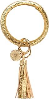 Hopsooken Wristlet Keychain Bracelet Bangle Round Key Chain Ring for Women Girl