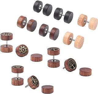 Milakoo 6 Pairs Stud Earrings for Men Women Ear Piercing Ear Plugs Tunnel 18G