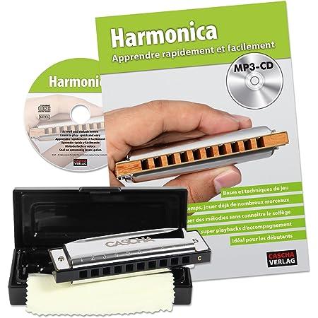 Cascha harmonica set découverte débutant I manuel français - harmonica 10 trous diatonique polyvalent en do I MP3-CD, livre d'initiation, étui rigide, chiffon I Blues Harp School français