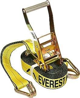 Everest Amarração de catraca premium – 1 pacote – 5 cm – 7,5 m – Carga de trabalho de 1511 kg – Gancho duplo J – Tiras de ...