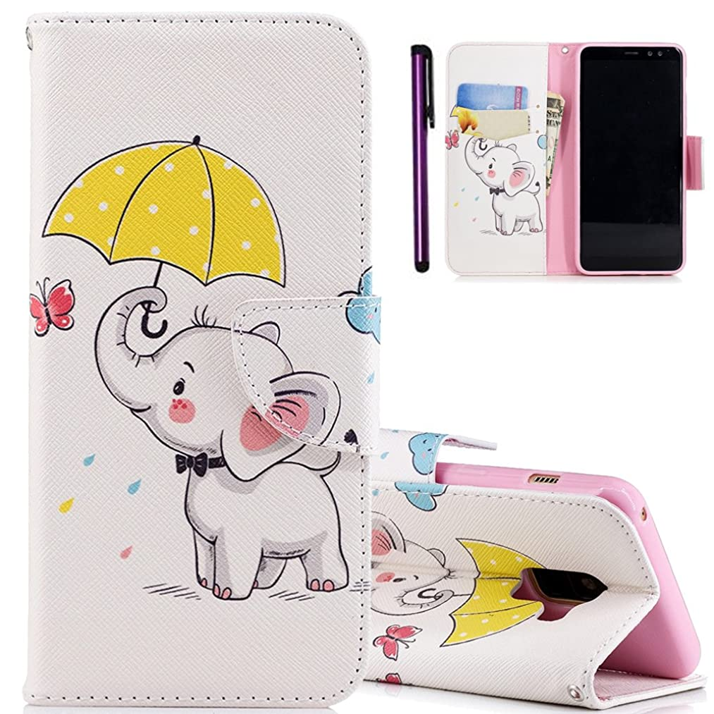 Galaxy A8 2018 Case ISADENSER Colorful Series Card Slot Holder With Stand Feature Double Layer Shock Absorbing Premium Soft PU Leather Wallet Cover Flip Cases for Galaxy A8 2018 Umbrella Elephant