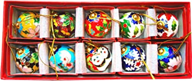Earlyred Cloisonne Enamel Christmas Hanging Ball Ornaments - 10Pcs Oval Balls Christmas Tree Pendants, Ornament Collection Gift