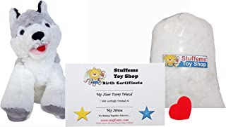 Make Your Own Stuffed Animal Mini 8 Inch Loveable Husky Dog Kit - No Sewing Required!