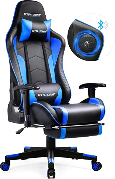 GTRACING Gaming Chair With Speakers Footrest Bluetooth Video Game Chair Heavy Duty Ergonomic High Back Computer Office Desk Chair Blue