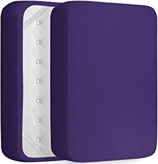 DREAMCARE Extra Deep Pocket Fitted Sheet Deep Pocket Fitted Sheet Only - Up to 21 Inch Mattress Sheet King Size Fitted Sheet, Purple