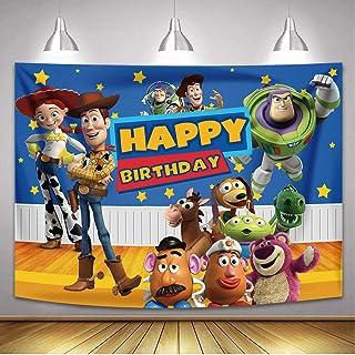 Betta Cartoon Story Backdrop for Kids Boys Birthday Party Cake Table Background Cartoon Story Theme Party Backdrop Woody a...