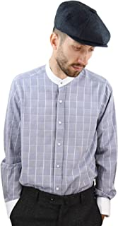 Giobellini Mens Peaky Blinders Shirt Removable Collar Penny Button Check Nehru Collarless