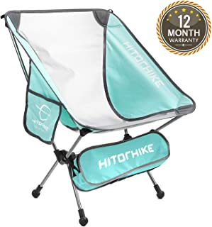 HITORHIKE Camping Chair Breathable Mesh Construction 2 Side Pockets Aluminum Frame Camp Chair with Carry Bag Compact and Lightweight Folding Chair for Backpacking and Camping