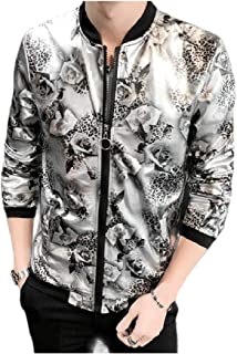 RkBaoye Mens Silm Fit Printing Rash Guards Evening Club Zipper Costume Jacket