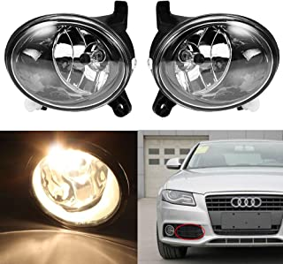 Clear Lens Fog Light Driving Lamp with H11 Bulb 55W for 2009-2012 Audi A4 S4 B8 Sedan (One Pair, Left + Right)