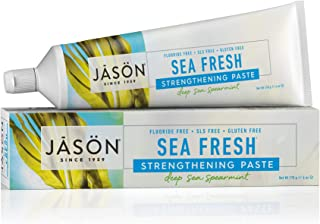 JASON Sea Fresh Strengthening Fluoride-Free Toothpaste, Deep Sea Spearmint, 6 Ounce Tube