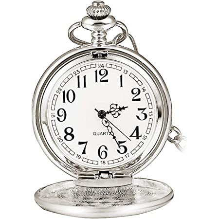 Smooth Vintage Steel Quartz Pocket Watch Classic Fob Pocket Watch with Short Chain for Men Women - Gift for Birthday Anniversary Day Christmas Fathers Day