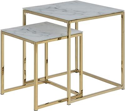 Marque Amazon - Movian Rom - Table Basse, 45 x 45 x 50 cm, Blanc