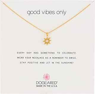 Good Vibes Only Sun Pendant Necklace, 16