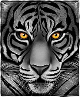 Dawhud Direct White Tiger Face Fleece Throw Blanket