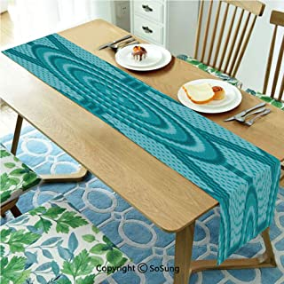 Teal Decor Table runner for Farmhouse Dining Coffee Table Decorative,Abstract Aboriginal Dot Painting Ancient Native Ethnic Cultural Art in Australia 16