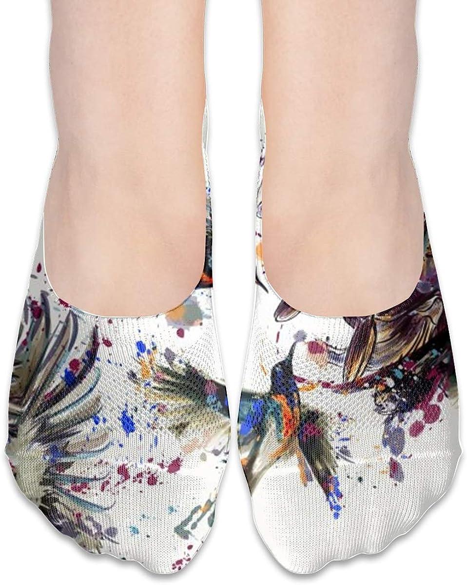 No Show Socks Women Men For Lily Flowers Birds Art Flats Cotton Ultra Low Cut Liner Socks Non Slip