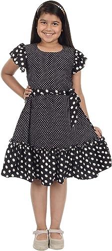 Je T Aime Mumum s Girls Black Polka dots Printed Crepe Fabric Short Sleevee Dress for 4 15 Year Girls