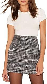 ASMAX HaoDuoYi Womens Plaid Pencil High Waist Mini Party Skirt