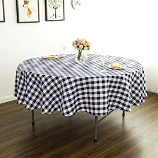 Lycra Home Navy Blue Buffalo Plaid Gingham Round Table Cloth Checkered Tablecloth for Picnics, Bistros,Outdoor,70 Inch Diameter Round Tablecloth (Navy Blue & White Checkered)