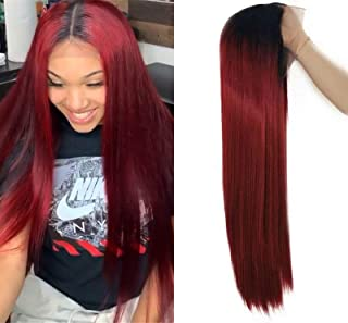 Long Red Ombre Lace Front Wig, Burgundy Wig with Black Roots Straight Hair Synthetic Lace Front Wig for Women 24inch