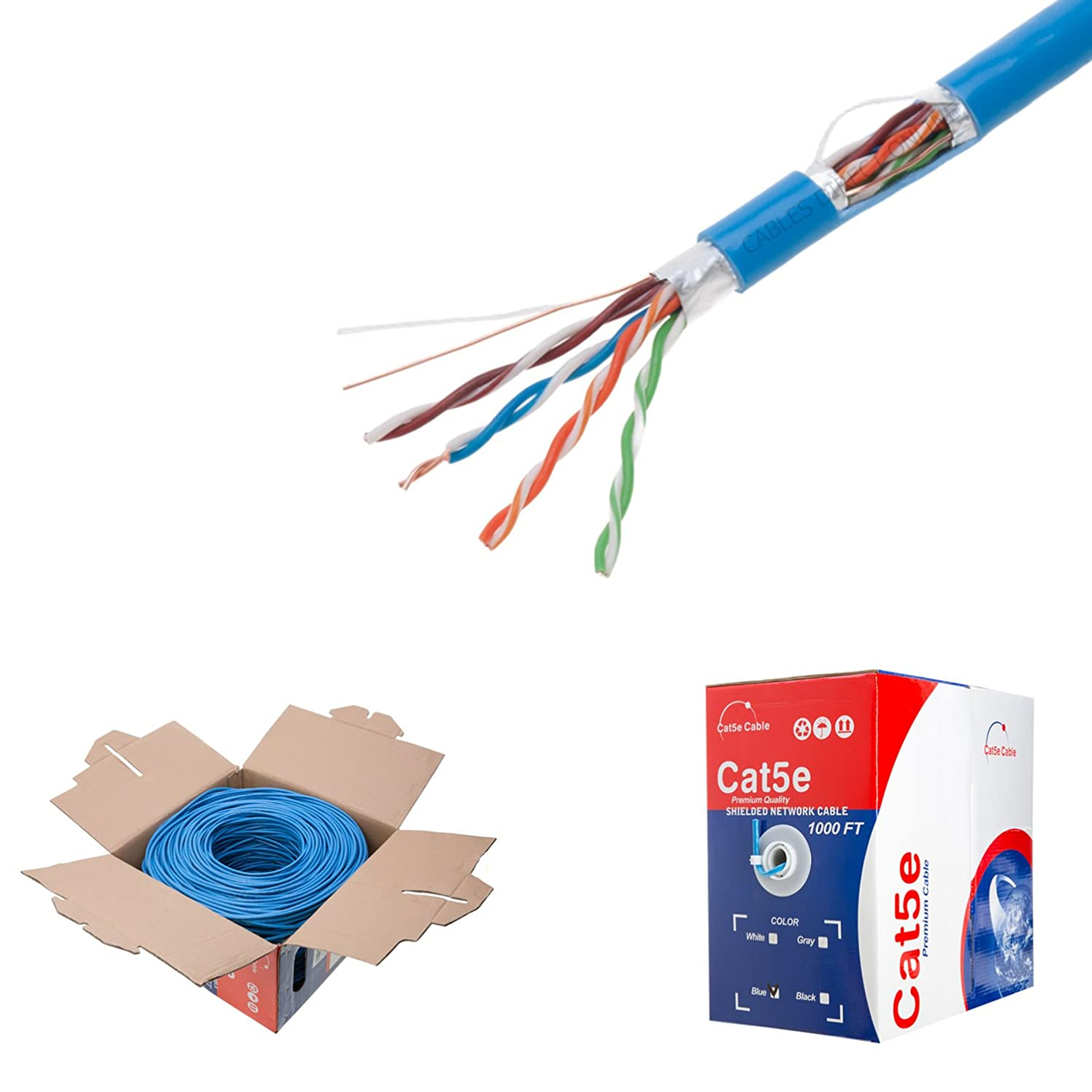 1000ft Cat5e Blue Solid 24AWG Cable FTP Cat5 Bulk Network Wire (Shielded (FTP), Blue)