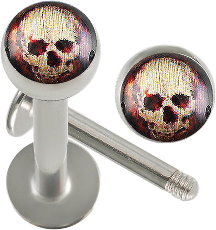 bodyjewellery 16g 16 Gauge 5/16 Inch Surgical Steel Lip Bar Labret Ring Monroe Ear Tragus Stud Bar Ball 4mm Skull Logo Piercing 2Pcs AHGC