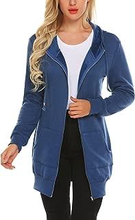 Women Casual Zip Up Fleece Hoodies Tunic Sweatshirt Long Hoodie Jacket