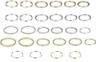 Yadoca, set di 28 anelli per nocche per donne e ragazze, stile vintage, impilabili, semplici anelli per pollice, argento e...