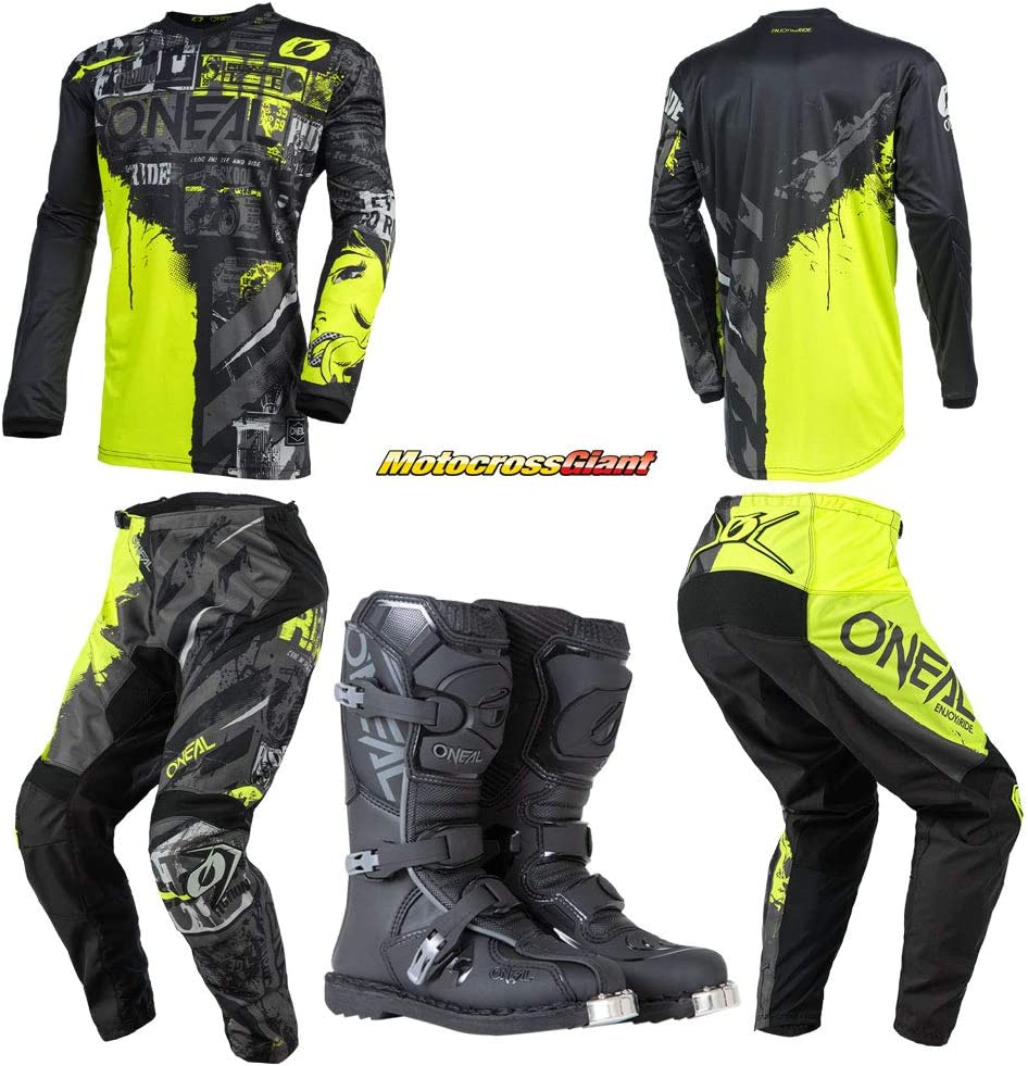 Oneal Youth Be super welcome Element Philadelphia Mall Ride Black Neon Pant Combo Boots YLR Jersey