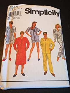 Simplicity 8963 Sewing Pattern, Misses', Men's or Teen-Boys' Nightshirt and Long or Short Pajamas, Size A (XS,S,M,L,XL)