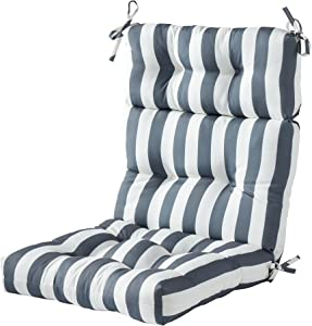 South Pine Porch Outdoor Canopy Stripe High Back Chair Cushion, Gray