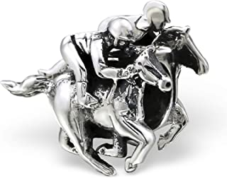 Best Wing Jewelry .925 Sterling Silver Equestrian/Race Horse Charm Bead