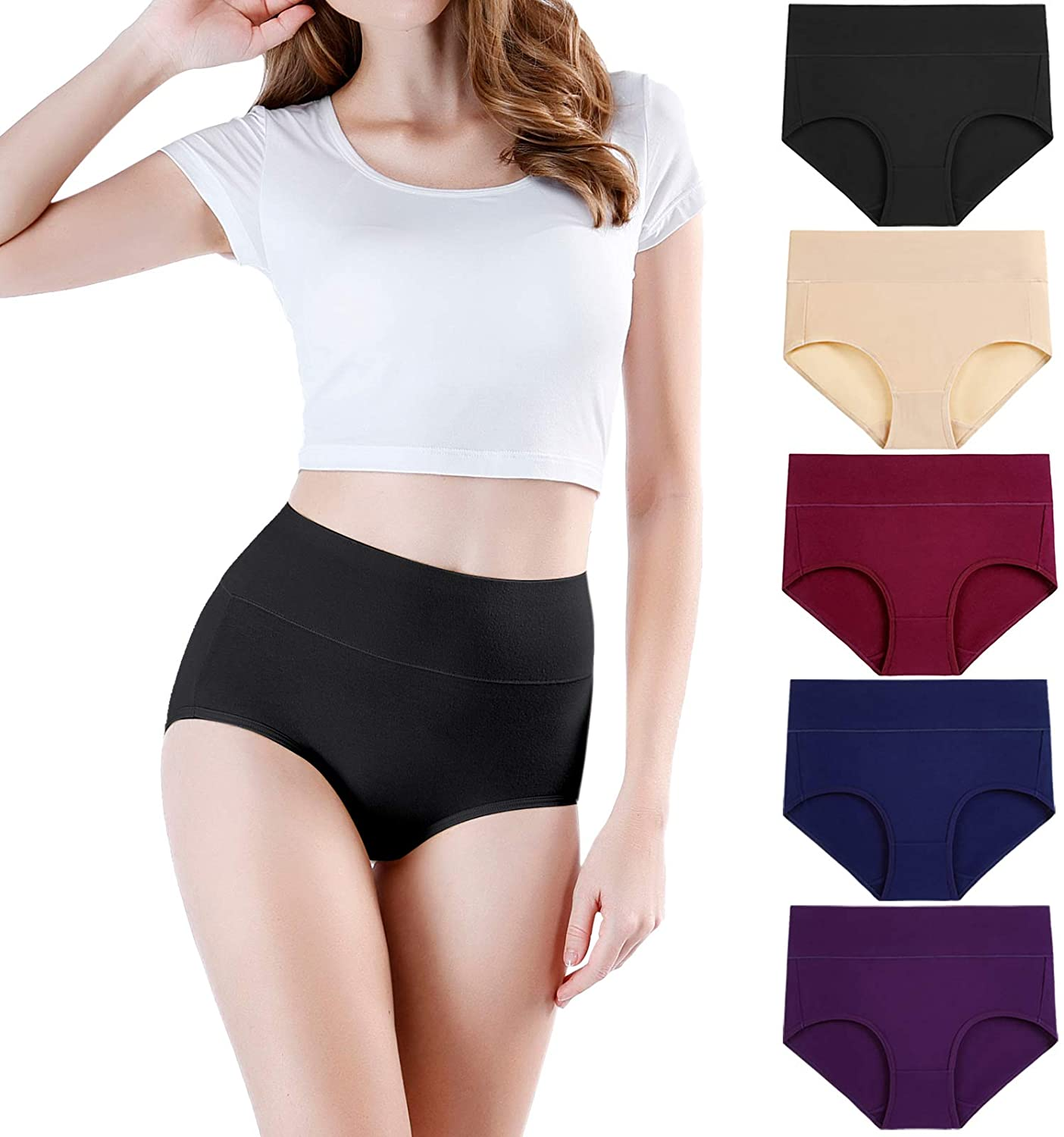 wirarpa Women's High Waisted Cotton Underwear Soft Full Briefs Ladies Breathable Panties Multipack