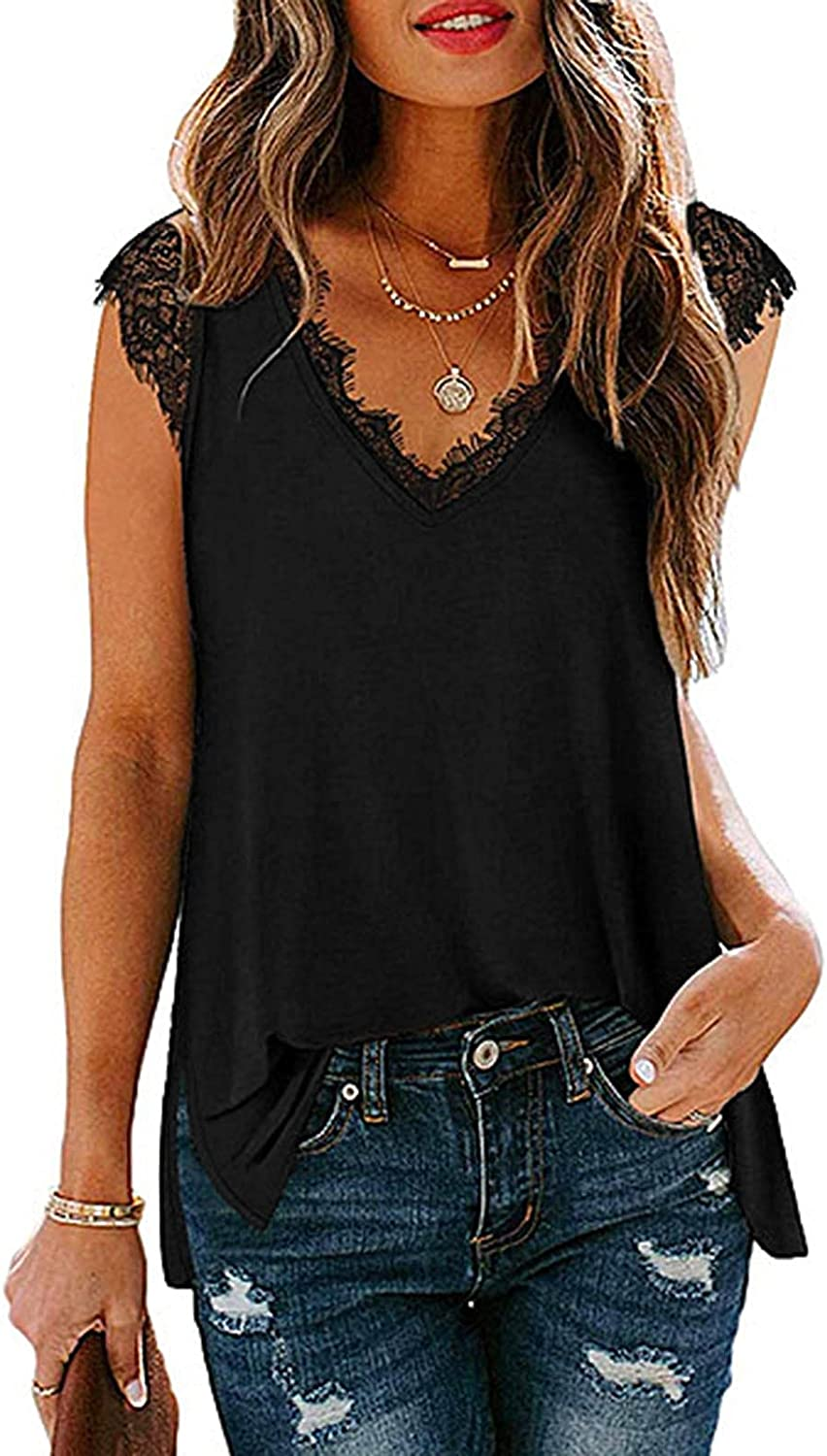 Sleeveless Tops for Women Summer,Womens V Neck Basic Lace Lace Trim Cami Shirt Summer Sleeveless Casual Top