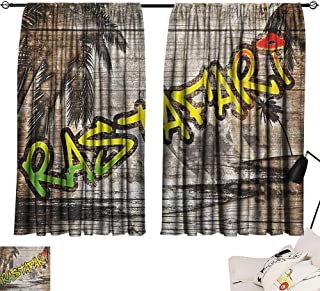 Michaeal Rasta Style Darkening Curtains Jamaican Reggae Music Icon Inspired Rastafari Street Graffiti Image Curtain for Living Room Brown Pale Green and Yellow W63 x L45