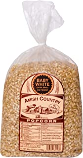 Amish Country Popcorn - Baby White Kernels (6 Pound Bag) - Small and Tender Popcorn - Old Fashioned and Delicious with Recipe Guide