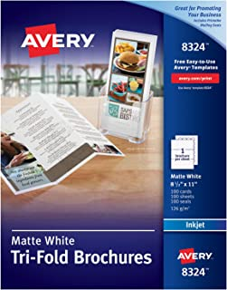 AveryTri-Fold Printable Brochure Paper, Inkjet Printers, 100 Brochures and Mailing Seals, 8.5 x 11 (8324)