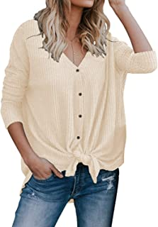 d0feab415e6803 MIHOLL Womens Loose Blouse Short Sleeve V Neck Button Down T Shirts Tie  Front Knot Casual