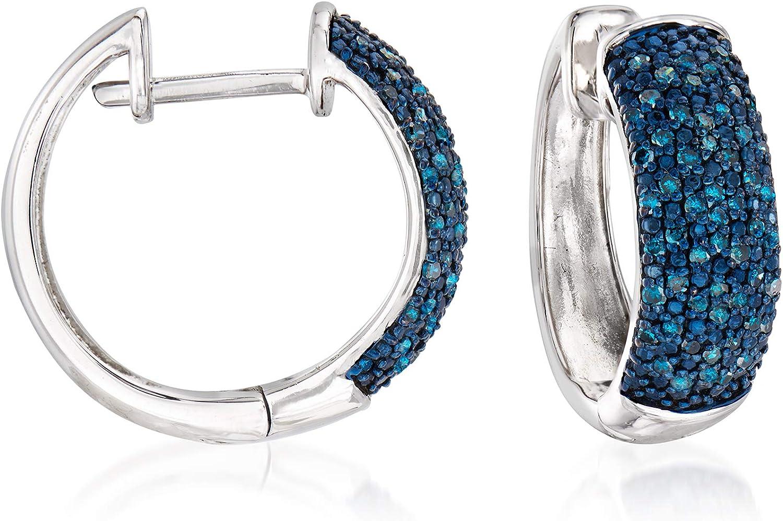 Ross-Simons 0.50 ct. t.w. Blue Sterling in Hoop Ranking Long Beach Mall TOP13 Diamond Earrings