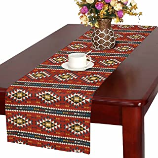 InterestPrint Southwest Native American in Tribal Colorful Geometric Pattern Table Runner Cotton Linen Cloth Placemat Home Decor for Home Kitchen Dining Wedding Party 16 x 72 Inches