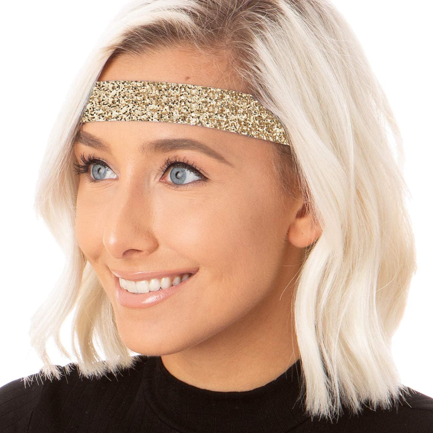 Hipsy Petite Size, Adjustable No Slip Sparkly Wide Bling Glitter Headbands for Women Girls & Teens