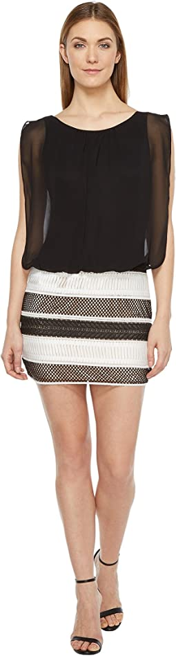 Lace and Chiffon Blouson Dress
